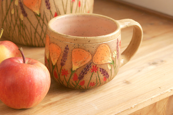 Stoneware Teacup, Peach, 10-12 oz., California Wildflowers Collection, Handmade Ceramic Coffee Cup