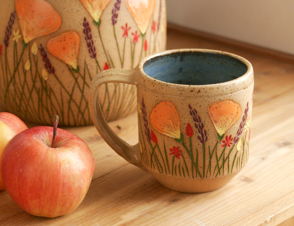 Contemporary Mug, Blue, California Wildflowers, 8-10 oz., Handmade Wheel Thrown Stoneware