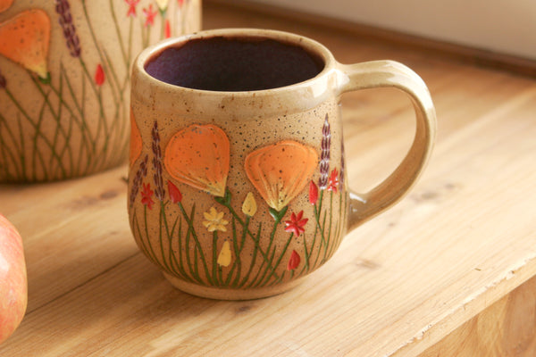 Purple Teacup, California Wildflowers, 10-12 oz., Handmade Wheel Thrown Stoneware