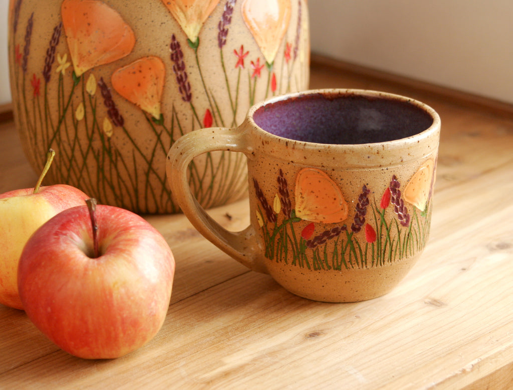 Small Contemporary Mug, California Wildflowers, 8-10 oz., Purple, Handmade Wheel Thrown Stoneware