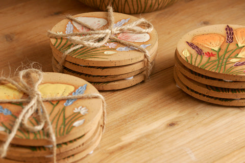 Set of 4 Hand-Carved California Wildflower Coasters in Assorted Colors