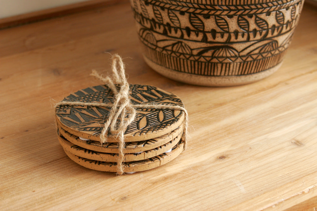 Set of 4 Hand-Carved Southwestern Coasters in Black