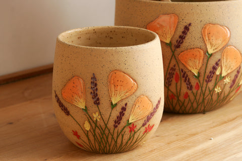 Small Oval Planter or Vase; California Wildflowers, Handmade Stoneware, Hand Carved Poppies