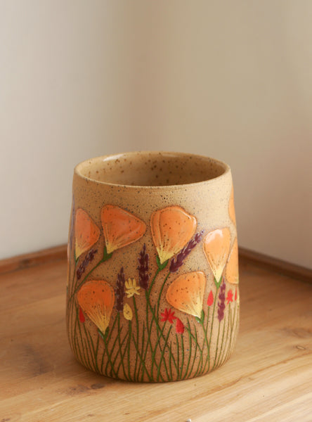 Cylinder Vase, California Wildflowers, Handmade Stoneware, Hand Carved Poppies