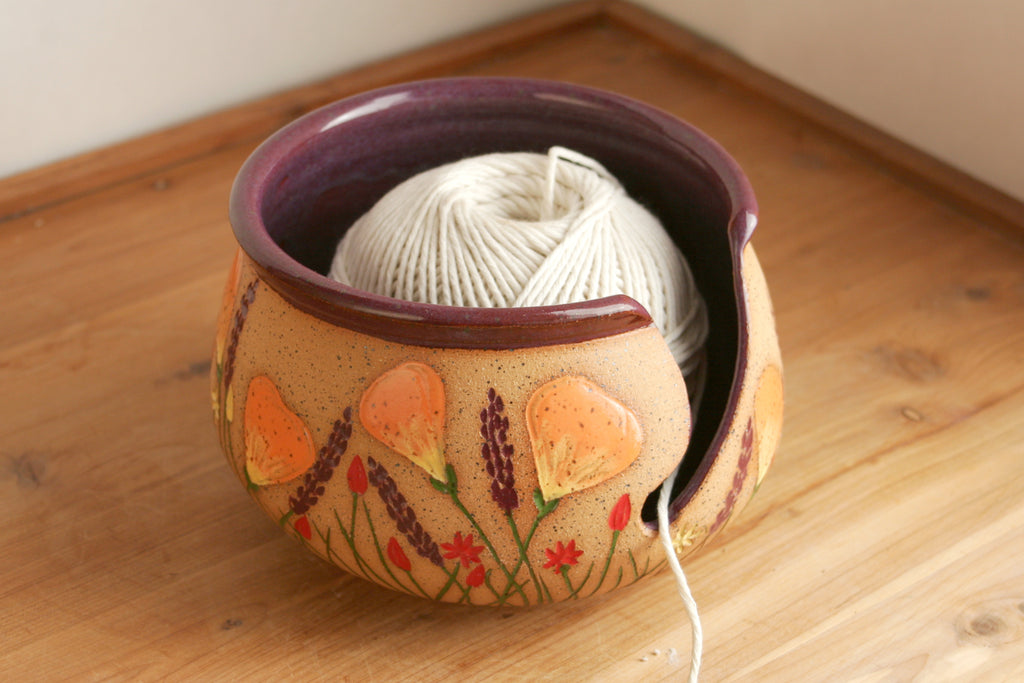California Wildflowers Yarn Bowl in Purple