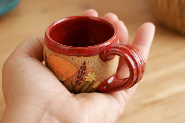 Espresso Cup, California Wildflowers, 1.5-2 oz., Red, Handmade Wheel Thrown Stoneware