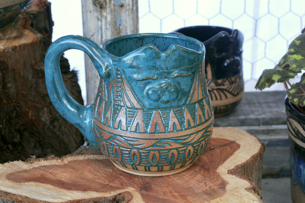 Southwestern Carved Cat Mug, Teal, 14-16 oz.