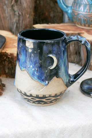 Large Handmade Stoneware Mug in Aurora Glaze, Desert Sky Mountains and Southwestern Carving