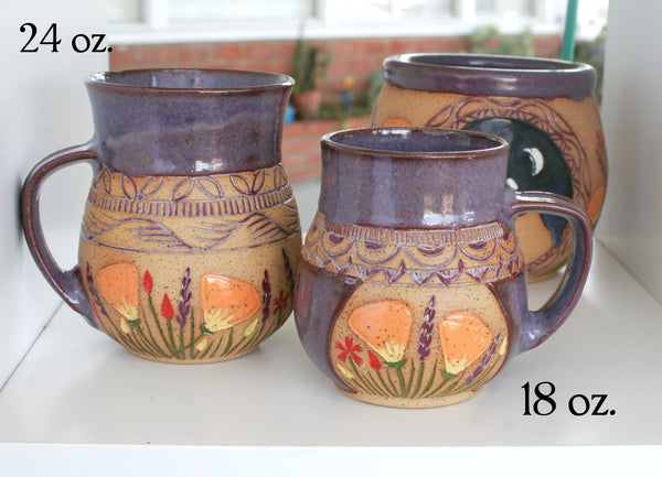 Purple California Wildflowers Mug, 18 oz. or 24 oz. Potbelly Stoneware
