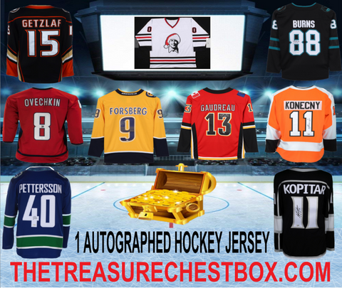 THE TREASURE CHEST BOX AUTOGRAPHED HOCKEY JERSEY (PYT) 5 BOX BREAK #1A + 4 GIVEAWAYS!