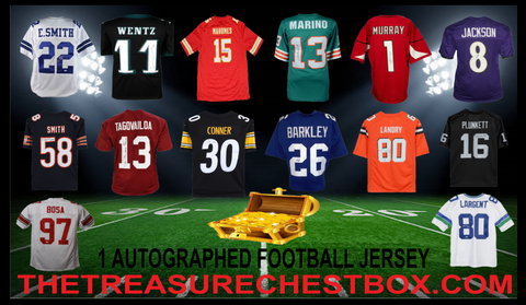 THE TREASURE CHEST BOX AUTOGRAPHED FOOTBALL JERSEY (PYT) 5 BOX BREAK #5F + 4 GIVEAWAYS!