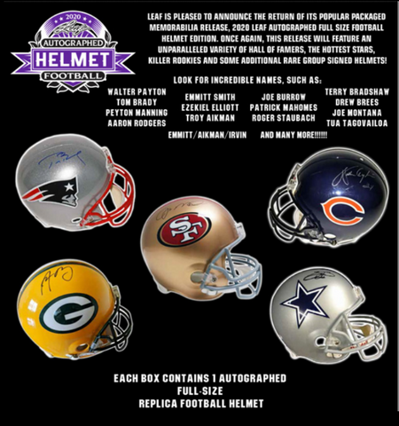 2020 Leaf Autographed Full Sized Helmet Football 2 Box Break #2L