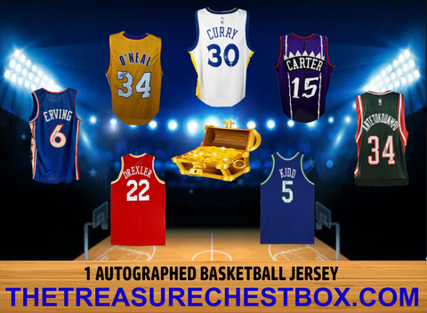 THE TREASURE CHEST AUTOGRAPHED BASKETBALL JERSEY BOX