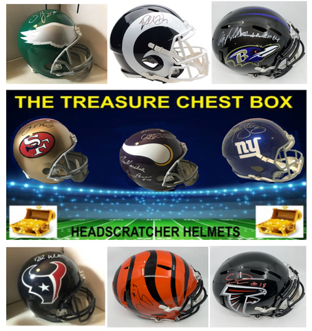 The Treasure Chest Full Size Football Headscratchers Helmet (PYT) Box Break #18L