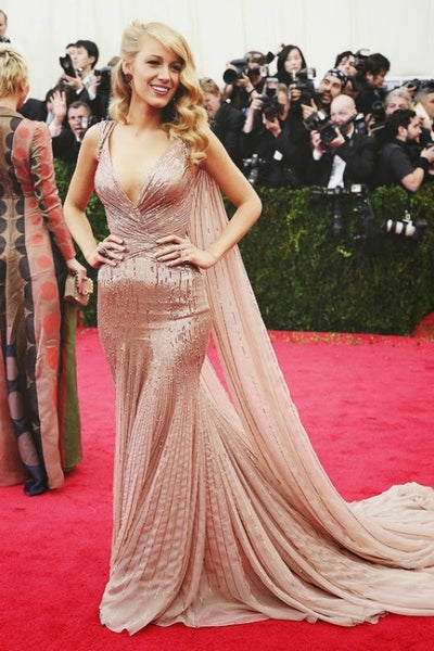 Blake Lively V Neck Dress Champagne Mermaid Sheath Sequins Prom Ball Gown Met Gala Red Carpet