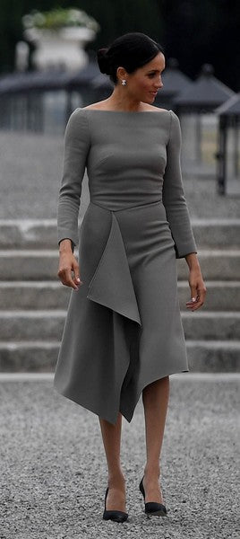 Meghan Markle Grey Modest Dress Long Sleeves Boat Neck Cocktail Dress Visit to Ireland Prom Ball Gowns