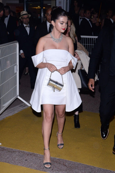 Selena Gomez White Dress Off The Shoulder Cocktail Celebrity Dress Cannes Gala Dinner