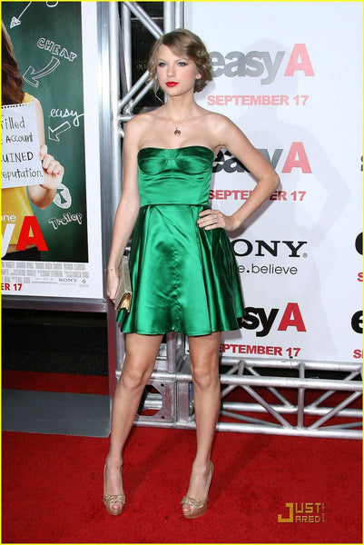 Taylor Swift Green Dress Strapless Satin Empire Waist Short Prom Celebrity Dress Red Carpet