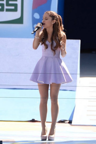 Ariana Grande Purple Dress Sweetheart Short Prom Ball Gowns Celebrity Evening Party Dress