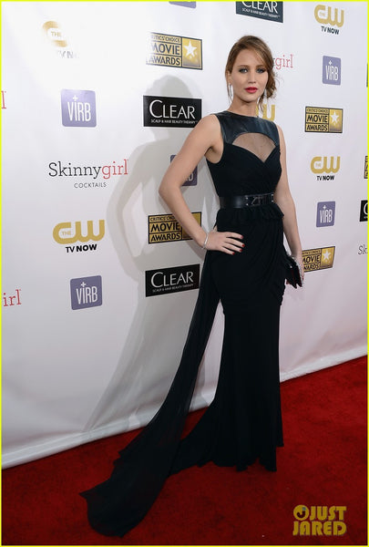 Jennifer Lawrence Round Neck Dress Black Belt Prom Red Carpet Critics Choice Awards Celebrity Formal Dress