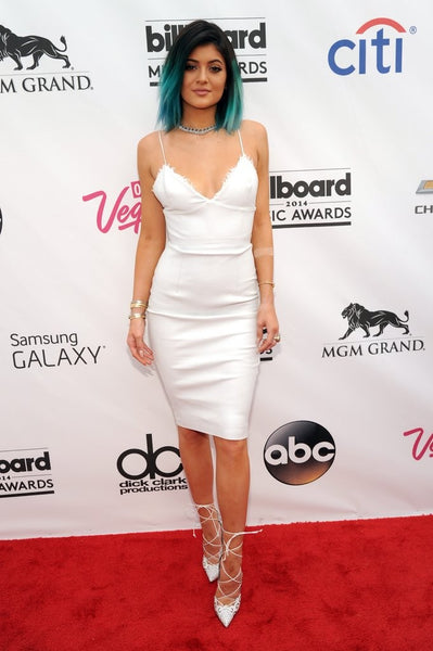 Kylie Jenner White Dress Knee Length Straps Bodycon Open Back Party Dress Billboard Music Awards Red Carpet