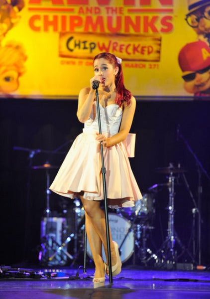 Ariana Grande Satin Dress Pink White Strapless Ball Gown Alvin And The Chipmunks DVD Release Concert Red Carpet Party Dress