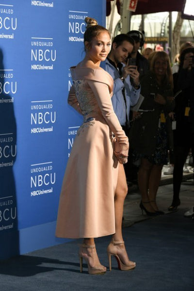 Jennifer Lopez (J.Lo) Long Sleeves Dress Rose Gold High Slit Satin Off the Shoulder Prom Celebrity Dress NBCUniversal Upfront