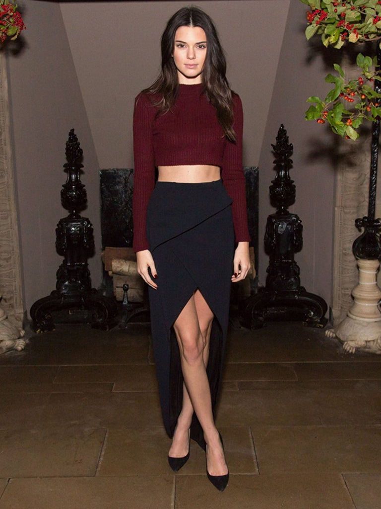 Kendall Jenner Red Sheath Dress Two piece Crop Top Long Sleeves Modest Prom Ball Gown Celebrity Dress