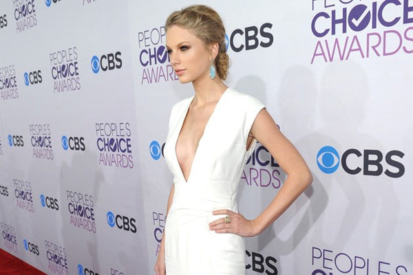 Taylor Swift White Dress Slim Fit V Neck Pastel Prom Red Carpet People's Choice Awards