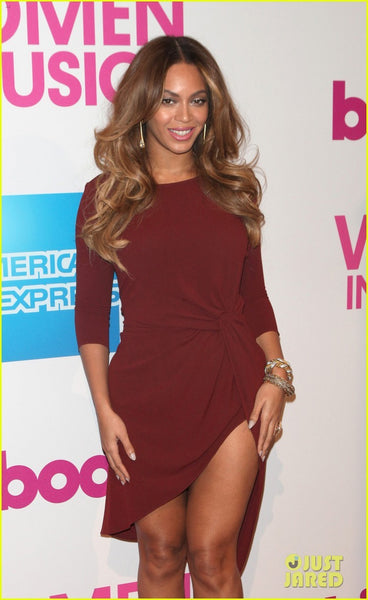 Beyonce Knowles knot Dress High Low Red Carpet Short Party Dress Billboard Women In Music Luncheon Rust