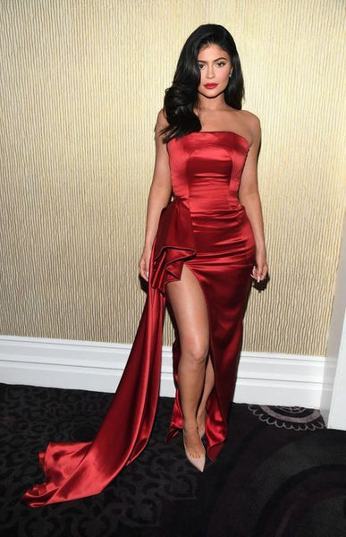 kylie Jenner Strapless Dress Red Satin High Slit Classic Prom Pre-Grammys Gala Red Carpet Formal Dress