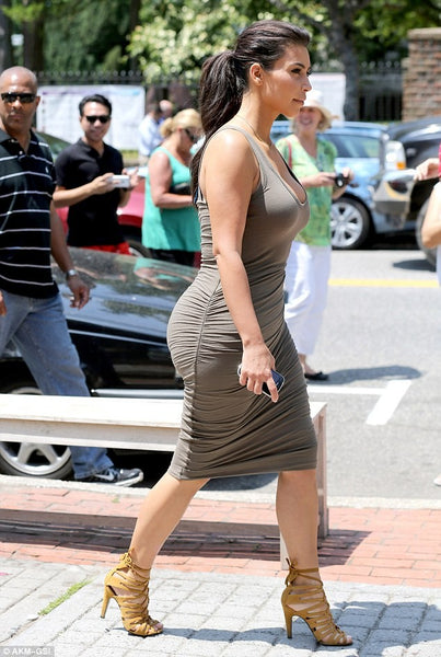 Kim Kardashian Bodycon Dress Grey Round Neck Stretchy Wrap A Line Prom Ball Gown Celebrity Outfit