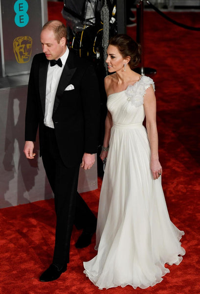 Kate Middleton White Dress Pastel A Line One Shoulder Classic Prom Celebrity Dress BAFTA Awards Red Carpet