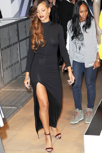 Rihanna Black Classic Dress Modest Long Sleeves Open Back Ball Gown River Island Collection Launch Celebrity Dress