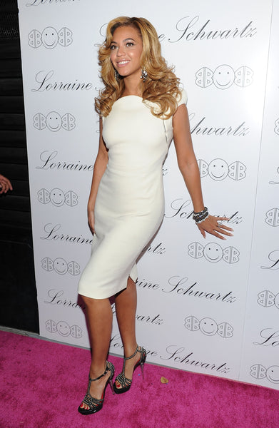 Beyonce Knowles Cap Sleeves Dress White Red Carpet Formal Cocktail Dresses Launch of Lorraine Schwartz's 2BHAPPY jewelry collection