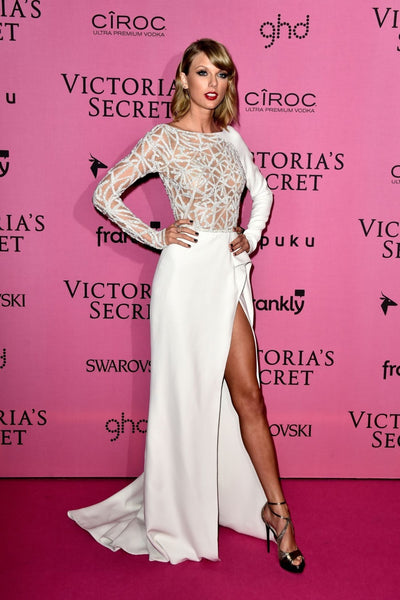 Taylor Swift White Dress Asymmetrical High Slit Boat Neck prom Victoria Secret Red Carpet Dress