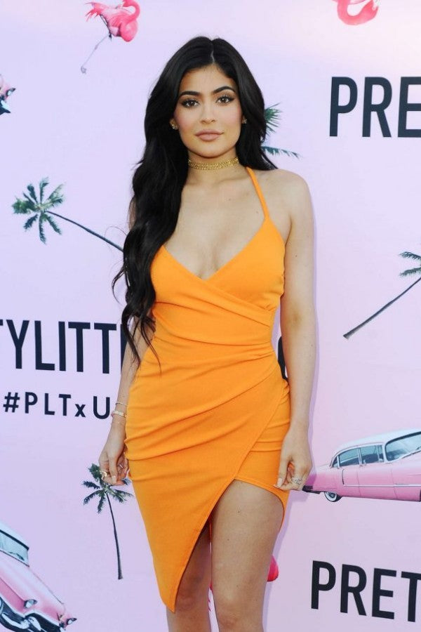 Kylie Jenner Orange Wrap Dress Figure-hugging Digh Low Celebrity Evening Dress PrettyLittleThing.com Launch Party Gown