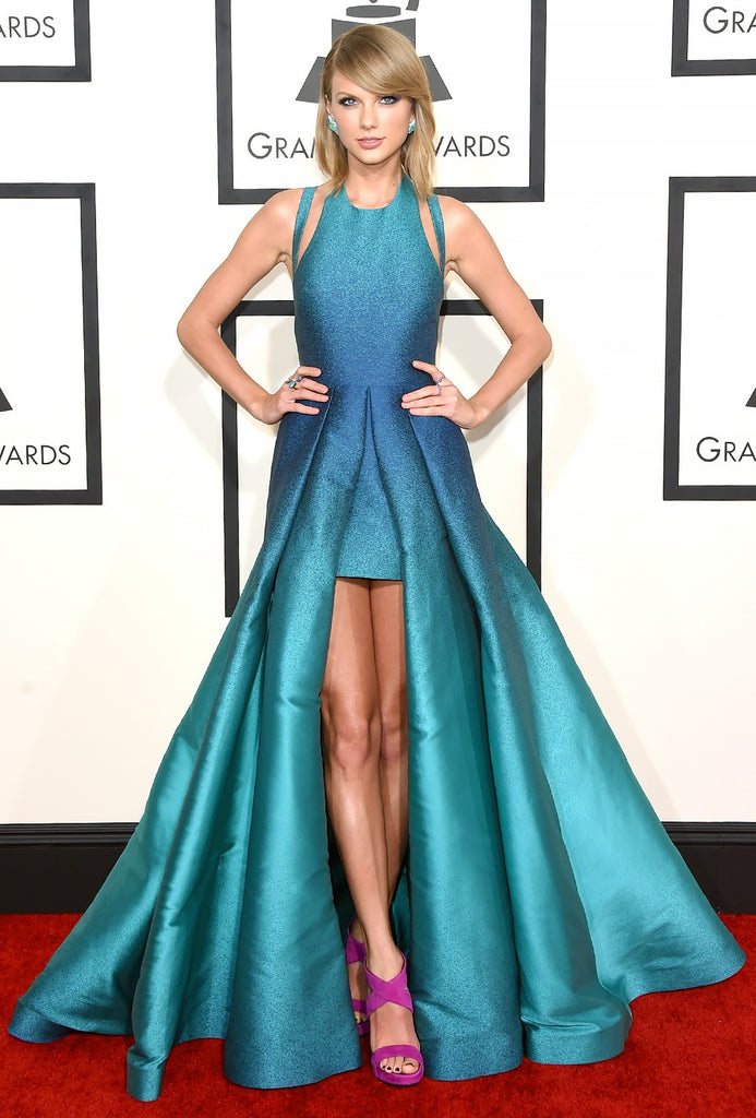 Taylor Swift Gradation Dress Criss Cross Back High Low Round Neck Prom Red Carpet Dress Grammys