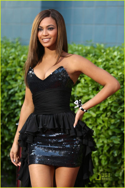 Beyonce Knowles Strapless Dress Black Sequins Sparkly Her New Movie Obsessed Premiere Red Carpet