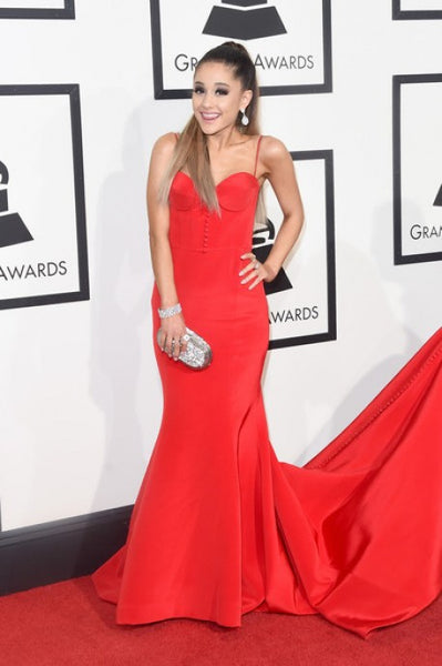 Ariana Grande Red Mermaid Dress Straps Bodycon Long Prom Gown 58th Annual Grammy Music Awards Celebrity Evening Dress