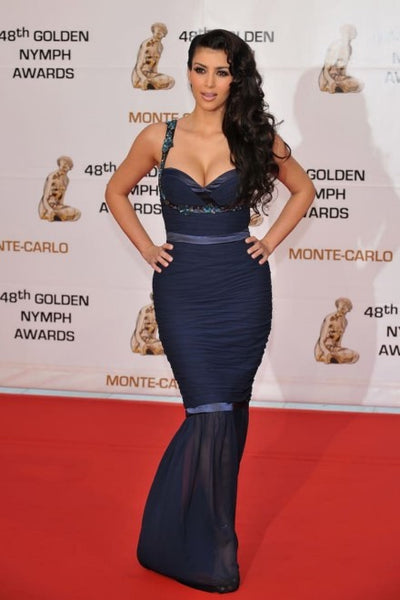 Kim Kardashian Shenth Dress Mermaid Straps Prom Celebrity Gown Golden Nymph Awards Red Carpet