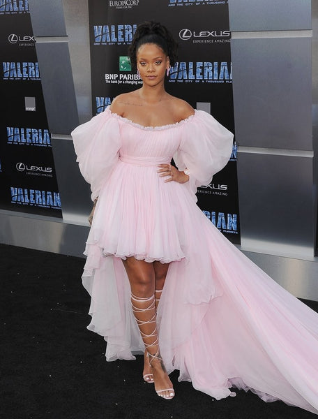 Rihanna High Low Dress Peach Pink Off the Shoulder Ruffled Long Prom Gown Valerian Premiere Celebrity Dress