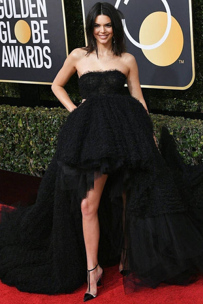 Kendall Jenner Black Dress High Low Strapless Long Prom Ball Gown Celebrity Dress Golden Globes