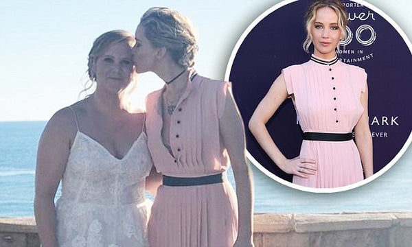 Jennifer Lawrence Chiffon Wedding Dress Pale Pink Button Collar Pleated Prom Amy Schumer's  Celebrity Formal Dress