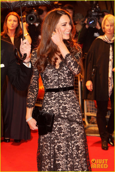 Kate Middleton Black Lace Dress Long Sleeves Sheath Celebrity Dress 'War Horse' UK Premiere Red Carpet
