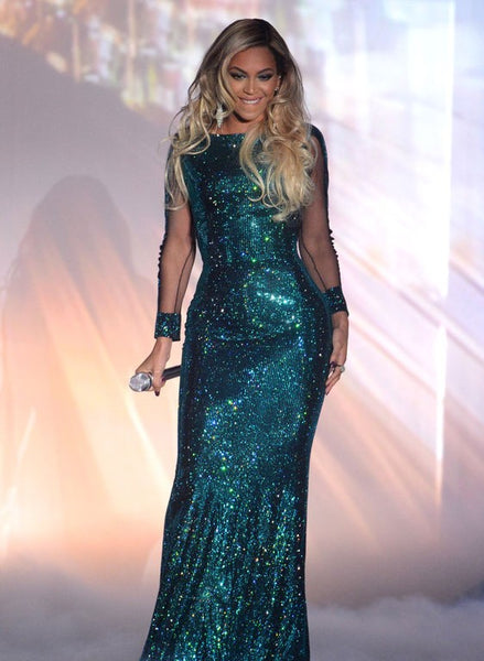 Beyonce Knowles Mermaid Dress Blue Sparkly Sequin Party Dress Brit Awards Celebrity Formal Dress