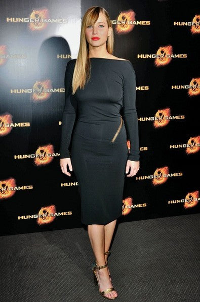 "Jennifer Lawrence Boat Neck Dress Black Long Sleeves Backless Celebrity Formal Dress ""The Hunger Games"" premiere"