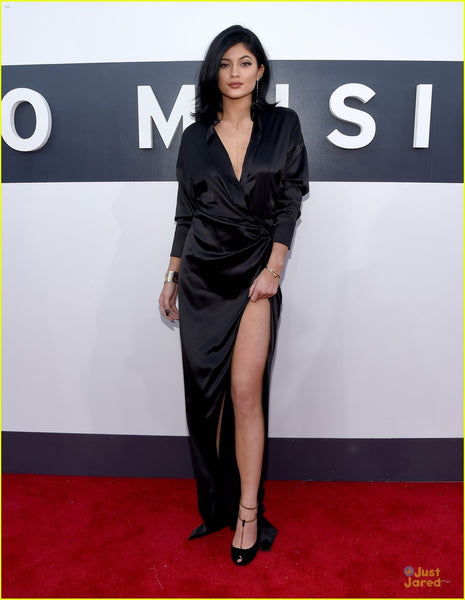 Kylie Jenner Black Dress Modest High Slit Classic Prom MTV VMAs Red Carpet Celebrity Dress