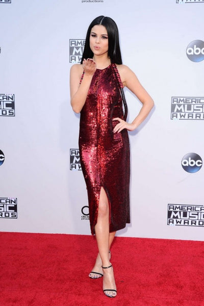 Selena Gomez Sparkly Dress Red Round Neck Nude Backless Prom Ball Gown American Music Awards