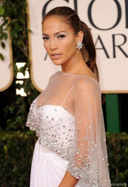 Jennifer Lopez White Dress Mermaid Empire Waist Sequins Slit Cape Prom Red Carpet Dress Golden Globes